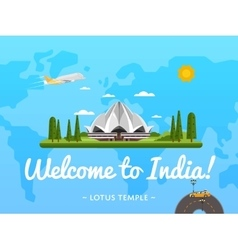 Welcome to india poster with famous attraction vector