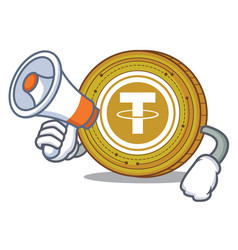 With megaphone tether coin character cartoon vector
