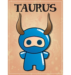 Zodiac sign Taurus with cute black ninja character vector image