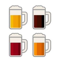 Four Glasses with Different Color Beers on White vector image