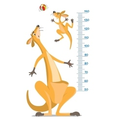Meter wall with two funny kangaroo vector image vector image