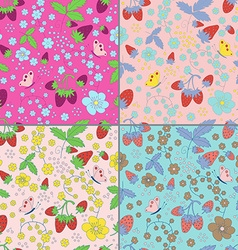 Set of seamless strawberry patterns vector image vector image