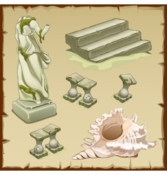 Sunken objects architecture and shell six element vector image