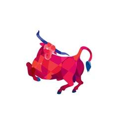 Texas Longhorn Bull Prancing Low Polygon vector image vector image