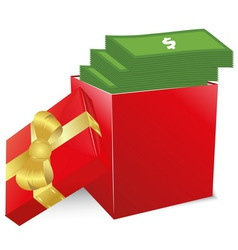 Concept of bonus Red box with gold bow full of vector image vector image