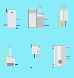 Different boilers icons set Flat style Electrical vector image vector image
