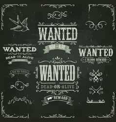 wanted vintage western banners on chalkboard vector image