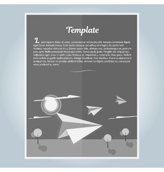 Black and white booklet paper airplane vector image vector image