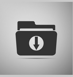 download arrow with folder icon on grey background vector image vector image
