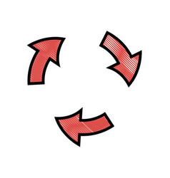 drawing arrows rotation process symbol design vector image