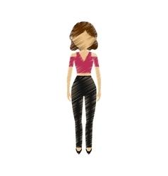 drawing avatar woman elegance stylish fashion vector image vector image