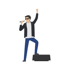 rock star in leather jacket sing in microphone vector image