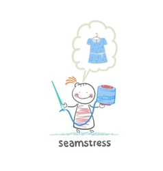 seamstress holding thread and needle and thinks vector image vector image