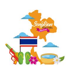 Songkran festival thailand map landmark flag vector