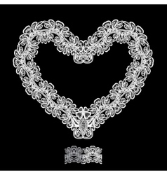White Heart shape is made of lace doily isolated vector image
