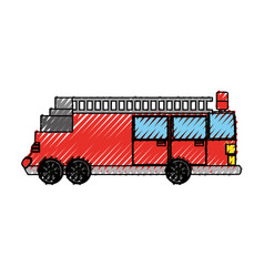 Firefigther truck vehicle vector