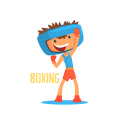 smiling boy boxer with boxing gloves and helmet vector image vector image