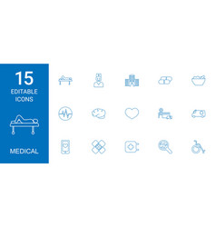 15 medical icons vector