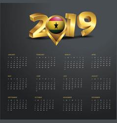 2019 calendar template ghana country map golden vector image