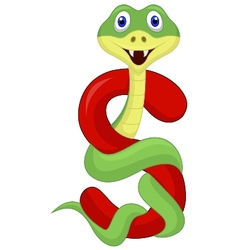 Alphabet S with snake cartoon vector image