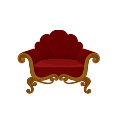 antique wooden armchair with red velvet upholstery vector image