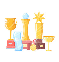 award winning cup and trophy variegation color set vector image