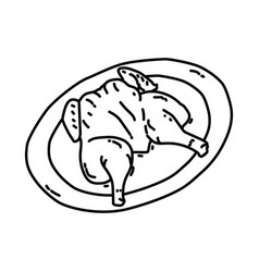 Ayam goreng icon doodle hand drawn or outline vector