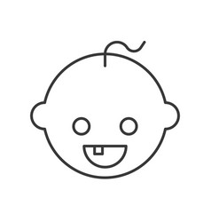 Baby with tooth simple outline icon dental care vector