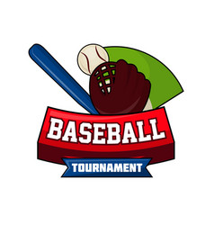 baseball tournament logo design with ball bat and vector image vector image