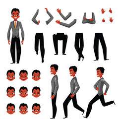 Black african american man character creation set vector