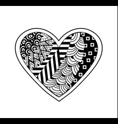 black and white heart vector image