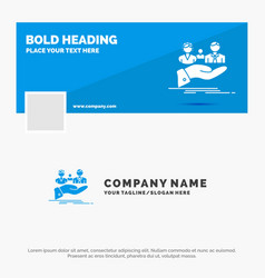 Blue business logo template for insurance health vector