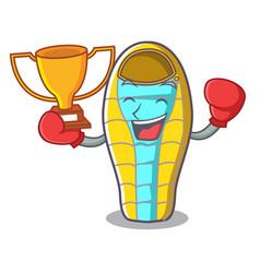 Boxing winner sleeping bad mascot cartoon vector