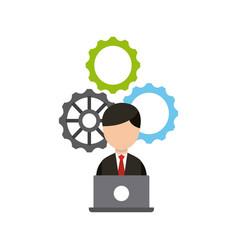 Businessman avatar worker icon vector