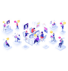 call center with people or customer support centre vector image