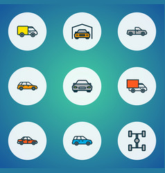 car icons colored line set with sedan car vector image