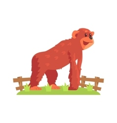 Chimpansee Ape On All Fours Standing On Green vector