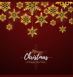 christmas poster with golden snowflakes vector image