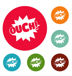 comic boom ouch icons circle set vector image