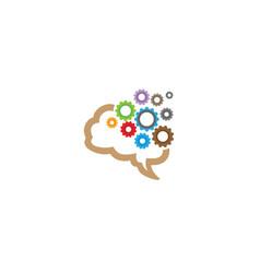 creative brain gear mind symbol logo design vector image