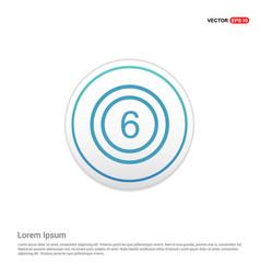 Cricket 6 icon - white circle button vector