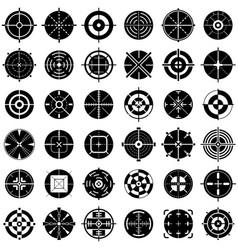 Crosshair icons set simple style vector