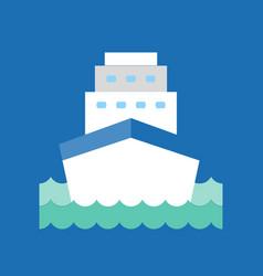 cruise ship in sea wave icon flat design vector image
