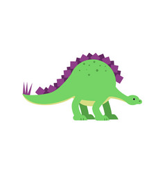 cute cartoon green stegosaurus dinosaur vector image