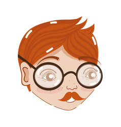 Cute man face with glasses and mustache vector