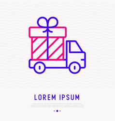 delivery truck with gift box thin line icon vector image