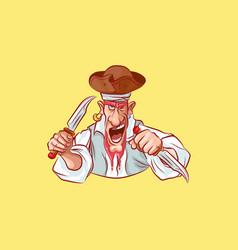 emoji sticker captain aggressive attack knives vector image