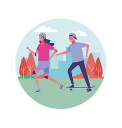 fitness people outdoors vector image