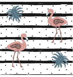 Flamingo bird seamless pattern with black stripes vector