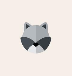 Flat cute raccoon head vector